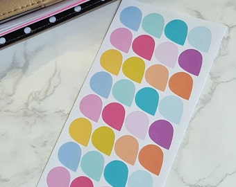 36 Colorful Teardrop stickers for all planners