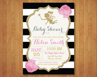 Fairy Baby Shower Invitation Enchanted Floral Baby Shower