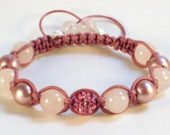 Exceptional Rose Quartz and Swarovski Pearl shambhala bracelet