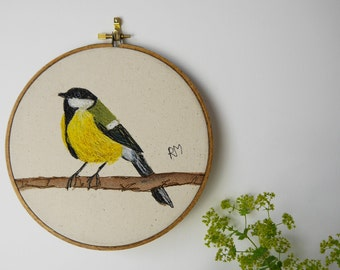 Embroidered Great Tit in Hoop