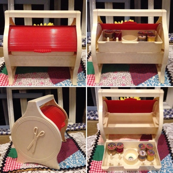 1940u0027s RARE Red U0026 White Sewing Caddy With Roll Top For Sewing Supplies  Storage Vintage Best Pat. Pend. U.S.A Early Plastics From  LaboldandSonsVintage On ...