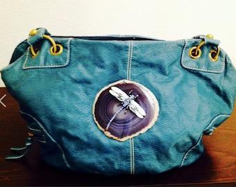Turquoise vintage designer purse with true stone Brazilian agate slab and Swarovski dragonfly shoulder bag
