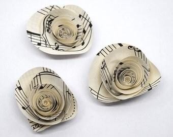 Sheet Music Flower Magnets- 3 Music Paper Flower Magnets, Musical Theme Home Decor, Ready to Ship Music Gift, Voice Teacher Gift, Fridge