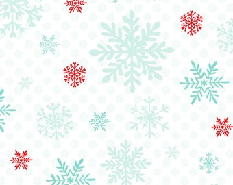 Snow flake-peppermint penguin Fabric