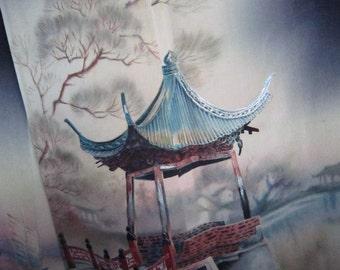 chinese pavillion and sanpan silk black kimono