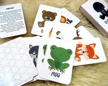 Flashcards Playing Cards Kids Memo game Kids Christmas Stocking Christmas Gift Toddler Gift Girl Gift Party Favors Forest Animals Game Cards