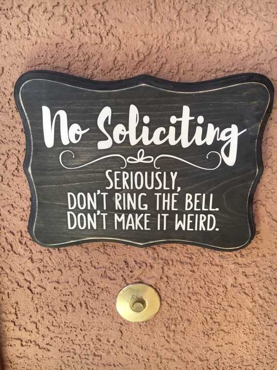 No Soliciting Wood Sign No Solicitation Wooden Sign Birthday