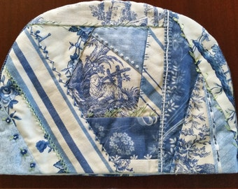 4-6 cup hand pieced, quilted and embellished tea cozy