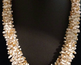 Twisty Sis Gold and White Seed Bead Necklace