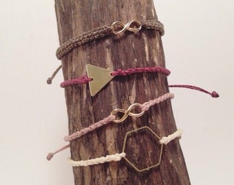 Pretty delicate bracelets with different shapes and colors, Infinity hexagon, triangle, tiny bracelet, a 10 -