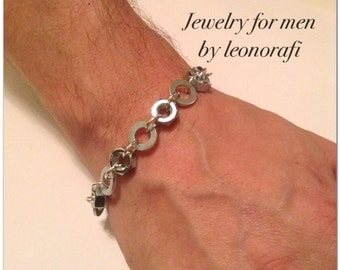 Jewelry for men by leonorafi Bracelet nuts and washers - bracelet for men - mens bracelet