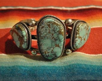 Massive Mens  Womans Navajo Signed Silver Turquoise Cuff Bracelet Antique Vintage