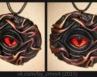 Pendant red eye Spectator natural leather
