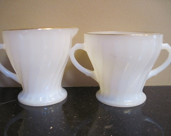 Fire King Sugar and Creamer-Golden Shell - Item #1127
