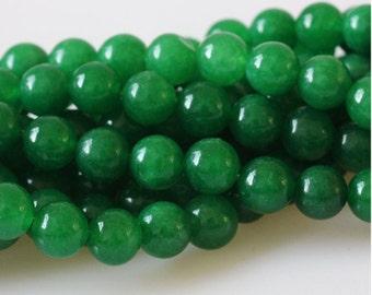 B13 DIY Beads Supplies,  Green Chalcedony Beads, Full Strand 6 8 10mm Green Gemstone Beads for Jewelry Making