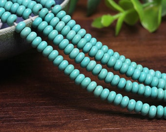 C24 Turquoise Beads Supplies, Full Strand 6mm Rondelle Turquoise Spacer Beads for DIY Jewelry Making,Handmade Bracelet Accessories