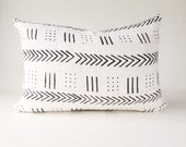 Authentic African Mudcloth Lumbar Pillow in White and Black