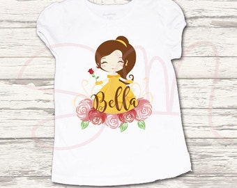 SALE 35% OFF Beauty and the Beast Belle Princess Custom name Birthday T-shirts file-Party Supplies-Digital file or Iron on Tshirt