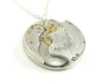 1889 Victorian Pocket Watch Movement Steampunk Necklace