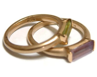 Matte gold stackable ring with peridot or amethyst.