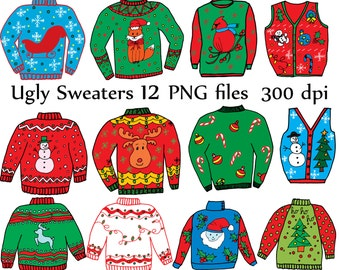 "Ugly Sweater ClipArt: ""CHRISTMAS CLIPART"" Holiday Clipart Doodle clipart ugly sweaters DIY Printable Christmas Jumper Christmas cards"