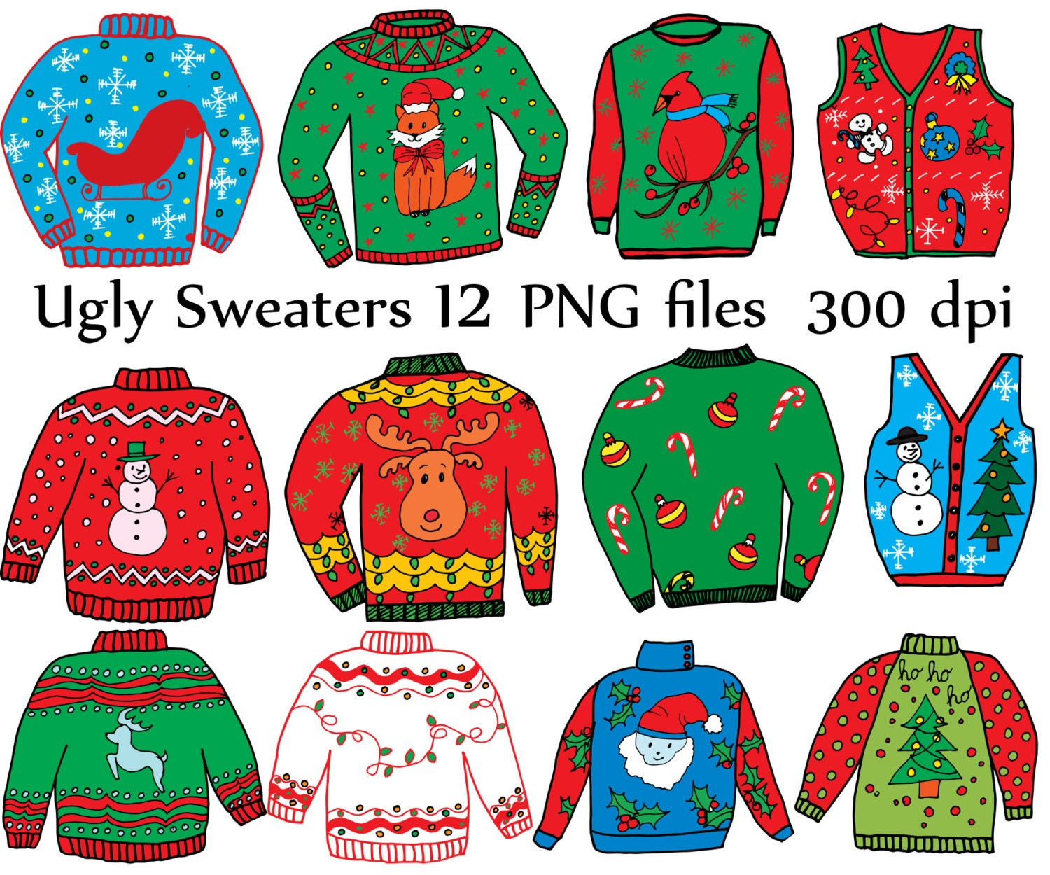 Ugly Sweater ClipArt: CHRISTMAS CLIPART Holiday