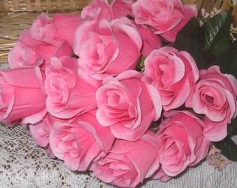 Silk Rose Bush - Silk Roses - Artificial Flowers - Permanent Botanicals - Pink Roses - Green Rose Bush - DIY Floral Supply - Cemetery Flower