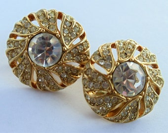 Vintage Monet Rhinestone Earrings, Clear Rhinestone Gold Tone Earrings, Round Button Clip On Earrings, Monet Jewelry, Estate Jewelry, 1970s'