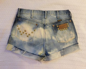 Vintage 80s 90s High Waist Wrangler Jeans Cut Off Shorts Acid Bleached and Gold Studds Waist 33 Inch  C
