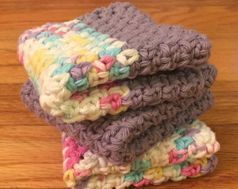 Set of 3 Crocheted Cotton Washcloths