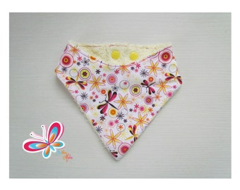 bandana with Dragonfly/flower on white background with yellow Terry cloth backing