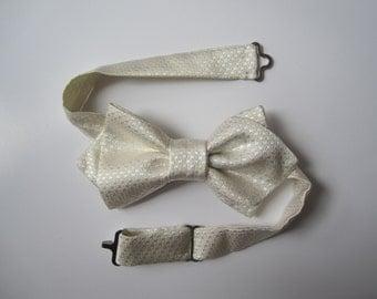 White silk bow tie adjustable, Adjustable White Silk Bow Tie