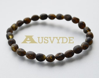Raw Baltic amber bracelet for Adults, Raw unpolished beads, Olive style, Healing amber, dark neutral color, 18 cm (7,1 inches), 5194
