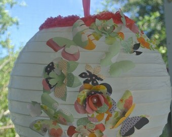 """10"""" paper lantern, flower lantern, flower paper lantern, hanging lantern"""