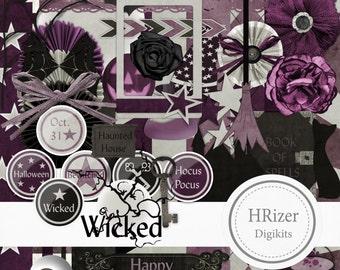 Wicked Halloween Digital Scrapbook Kit