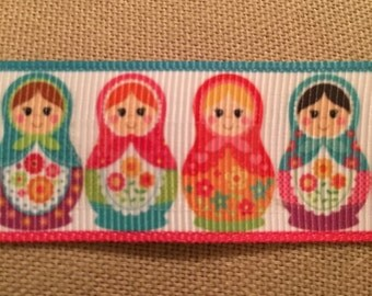 "1"" Printed Russian Stacking Dolls Ribbon"