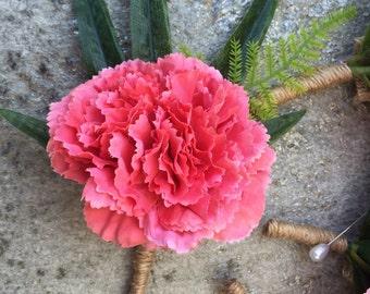 Carnation boutonnières or corsages, Faux Silk Floral, Artificial Flower, Wedding Flowers