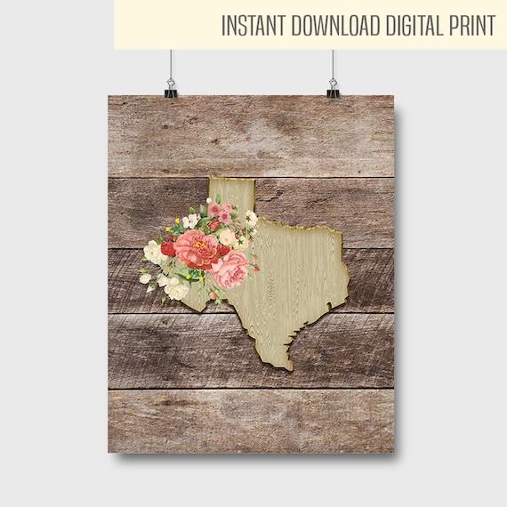 Texas Wall Decor Quote Flowers Print Texas Wall Decor Home