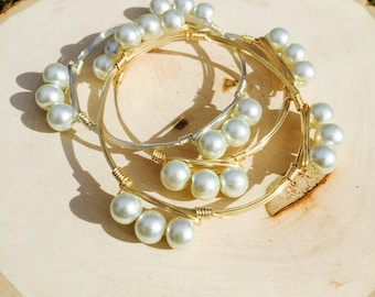 Glass Pearl 10 mm Wire Wrapped Bangle Bracelet
