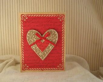 Valentine card Handmade country style elegance