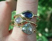 Mothers Birthstone ring, Stacking set, multi-birthstone stacking rings, emerald, topaz, sapphire, peridot, amethyst, garnet, moonstone...