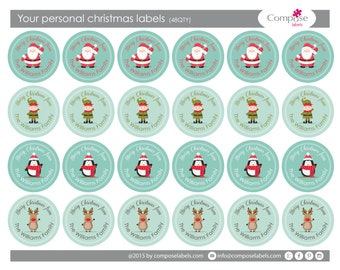Your personal Christmas present labels (48 qty) Free Shipping