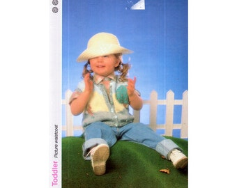 Genuine vintage 1980s Marshall Cavendish Gorgeous Toddlers Picture Waistcoat Bunny Motif and Tree 3d Scene Knitting Pattern