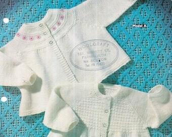 Genuine vintage 1960s SIRDAR 3021 '2' Stunningly Cute Baby Cardigans Knitting Pattern