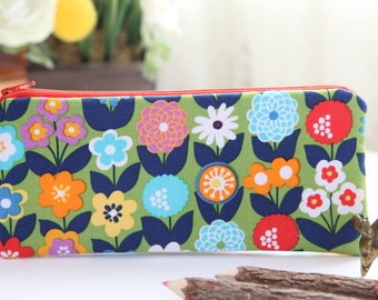 Field of Flowers Pencil Pouch, Pencil Case, FREE SHIPPING with another purchase, Pencil Bag, Zipper Pouch, Gadget Case, School Supplies