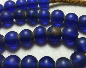 "18"" Vintage Large 13 mm. Blue Semi Translucent Glass ""Padre"" Trade Bead Strand #0056"