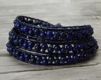 Navy wrap bracelet Lapis lazuli bead wrap bracelet Gemstone leather wrap bacelet Boho stack bracelet Yoga bead bracelet bead Jewelry SL-0379