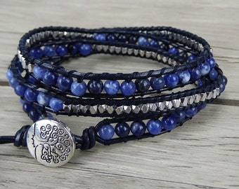 navy beaded bracelet Blue wrap bracelet Silver Nuggets bead bracelet boho leather bracelet 3 wraps bracelet yoga beads wrap bracelet SL-0249