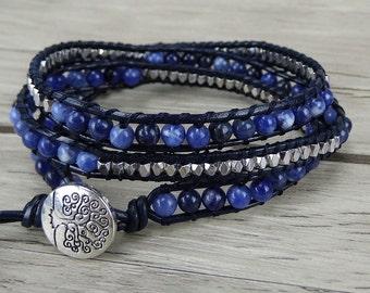 navy beaded bracelet Blue wrap bracelet Silver Nuggets bead bracelet boho leather bracelet 3 wraps bracelet yoga beads wrap bracelet SL-0249