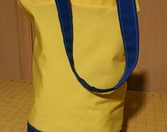 Yellow and blue tote